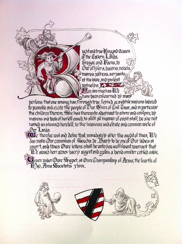 Sorcha's Award of Arms