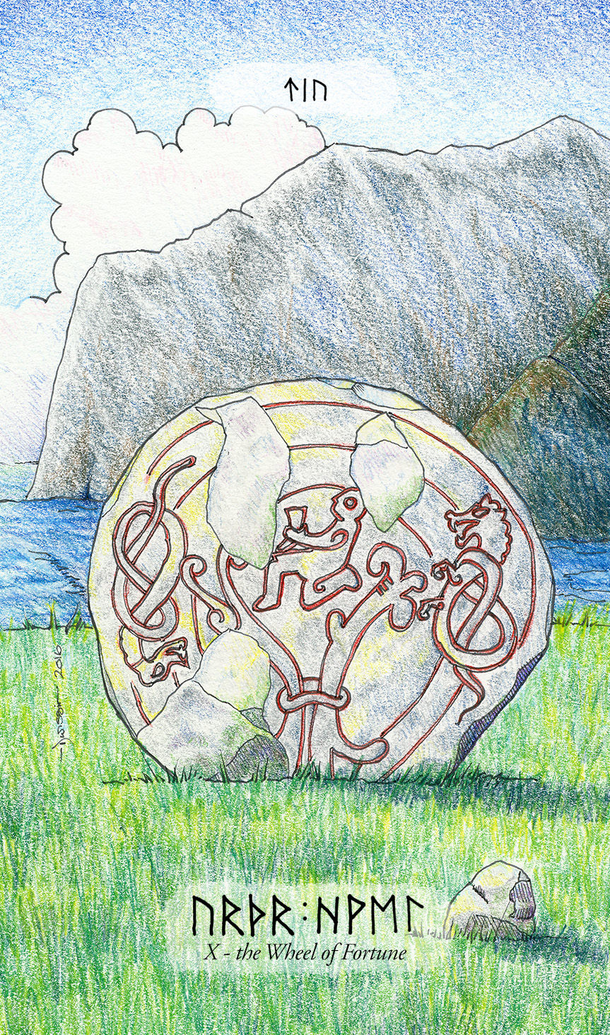 A weathered rune-stone as the Wheel of Fortune
